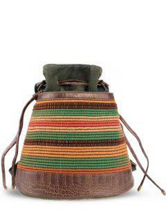 Ethnic Linen Convertible Backpack - Army Green