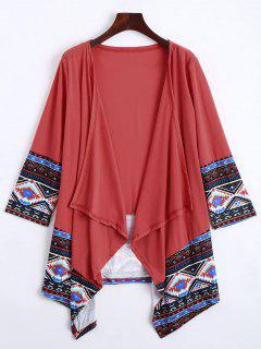 Open Front Geometric Print Cardigan - Watermelon Red Xl