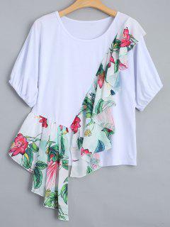 Ruffles Floral Print T-shirt - White L