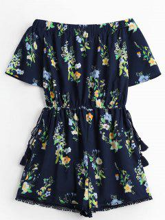Off The Shoulder Drawstring Floral Print Romper - Purplish Blue L