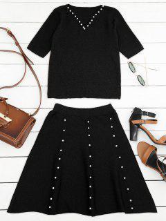 Punto De Rebordear Superior Y Una Línea Mini Falda - Negro