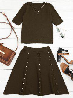 Knitted Beading Top And A Line Mini Skirt - Coffee