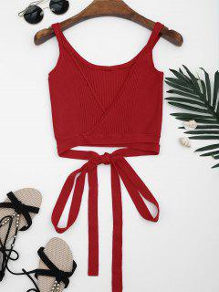 Knitted Wrap Crop Tank Top - Red M