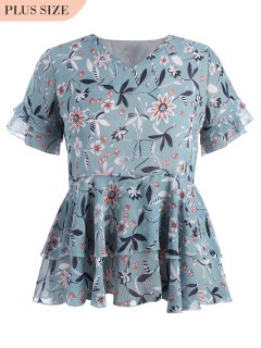 Top Ruffles Floral Taille - Floral 4xl