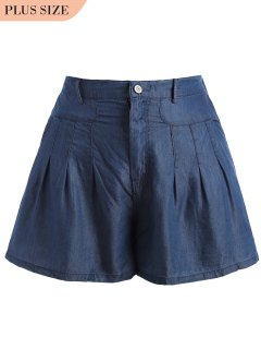 High Waisted Casual Plus Size Shorts - Blue 3xl