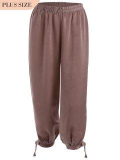 Bow Tie Plus Size Harem Pants - Russet-red Xl