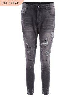 Plus Size Destroyed Cutoffs Jeans - Black Xl