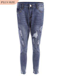 Plus Size Destroyed Cutoffs Jeans - Blue Xl