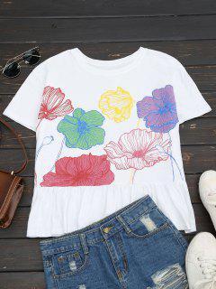 Haut Coton à Volant Motif Floral - Blanc L
