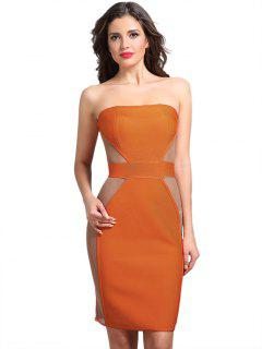 Strapless Mesh Panel Sheer Dress - Orange M