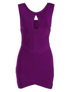 Sleeveless Cut Out Bodycon Bandage Dress - Purplish Red Xl