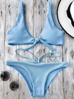 Knotted Textured Scoop Bikini Set - Light Blue S