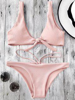 Knotted Textured Scoop Bikini Set - Pink M
