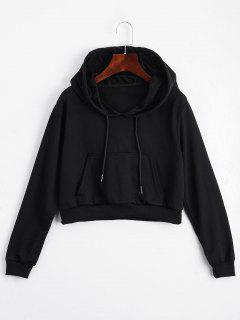 Front Pocket Drawstring Crop Hoodie - Black M