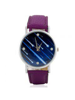 Faux Leather Strap Meteor Shower Face Watch - Purple
