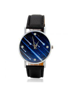 Faux Leather Strap Meteor Shower Face Watch - Black