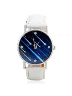 Faux Leather Strap Meteor Shower Face Watch - White