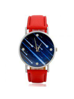 Faux Leather Strap Meteor Shower Face Watch - Red