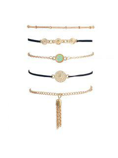 Faux Gem Fringed Chain Bracelet Set - Or