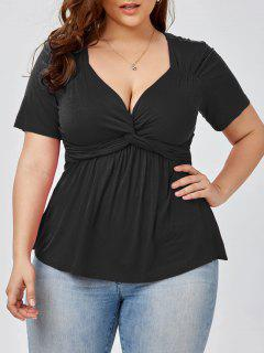 Plus Size Knot Front Top - Black 5xl