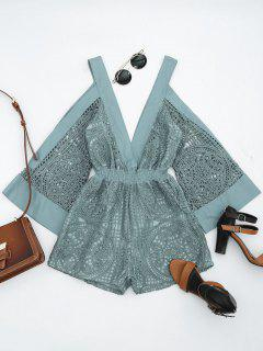 Plunging Neck Cold Shoulder Hollow Out Romper - Stone Blue Xl
