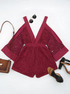 Plunging Neck Cold Shoulder Hollow Out Romper - Red S