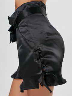 Lace-up High Waisted Ruffle Shorts - Black L