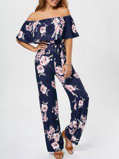 Off The Shoulder Floral Ruffle Jumpsuit - Purplish Blue L