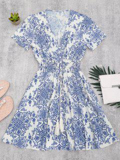 Smocked Panel Button Up A Line Dress - Blue And White M