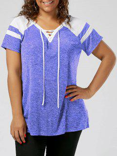 Plus Size Raglan Sleeve Lace Up Top - Blue And White 5xl