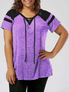 Plus Size Raglan Sleeve Lace Up Top - Black And Purple 2xl