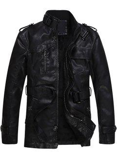 Zip Up Epaulet And Belt Fleece PU Leather Coat - Black 2xl