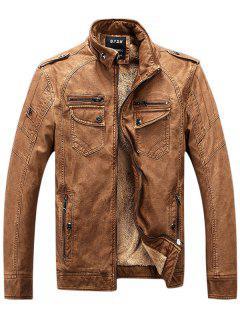 Epaulet Zip Up Pockets Fleece PU Leather Jacket - Brown 3xl