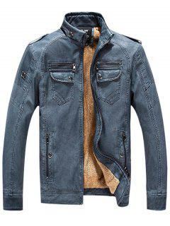 Epaulet Zip Up Pockets Fleece PU Leather Jacket - Denim Blue M