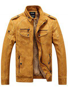 Epaulet Zip Up Pockets Fleece Veste En Cuir PU - Jaune M