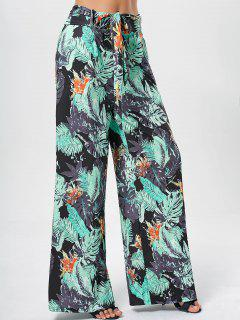 Printed Belted Wide Leg Pants - Green Xl