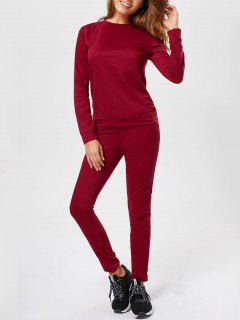 Casual Long Sleeve Track Two Piece Set - Wine Red L