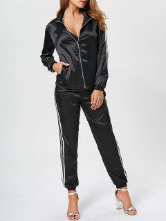 Ensenble Veste Zippée à Rayures Et Pantalon En Satin - Noir L