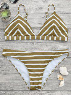 V Form Streifen Cami Bikini Set - Weiß Und Braun S