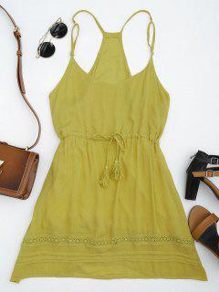 Spaghetti Straps Drawstring Waist Summer Dress - Ginger L