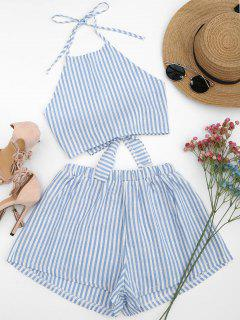 Halter Striped Two Piece Suit - Light Blue S