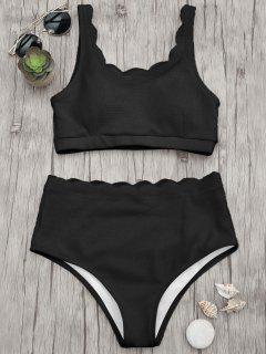 Scalloped High Waisted Bralette Bikini Set - Black M