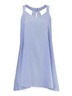 Plus Size Striped Strappy Flare Dress - Blue 5xl