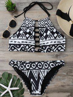 Criss Cross Halter Cropped Bikini Set - L