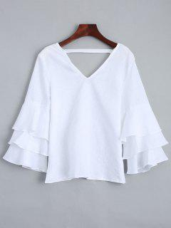 Tiered Sleeve V Neck Linen Blouse - White M