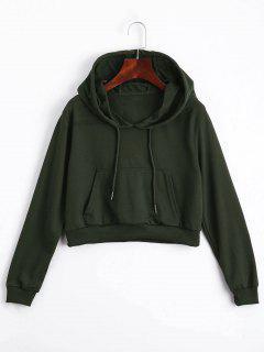 Front Pocket Drawstring Crop Hoodie - Army Green L