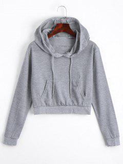 Front Pocket Drawstring Crop Hoodie - Gray M