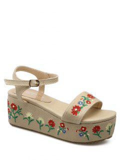 Denim Embroidery Platform Sandals - Apricot 39