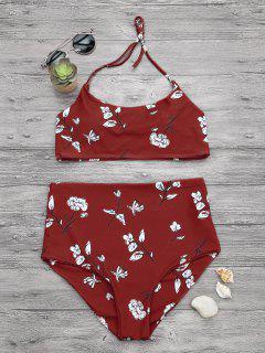 Control De Adelgazamiento Set De Bikini Bralette De Alta Cintura - Rojo S