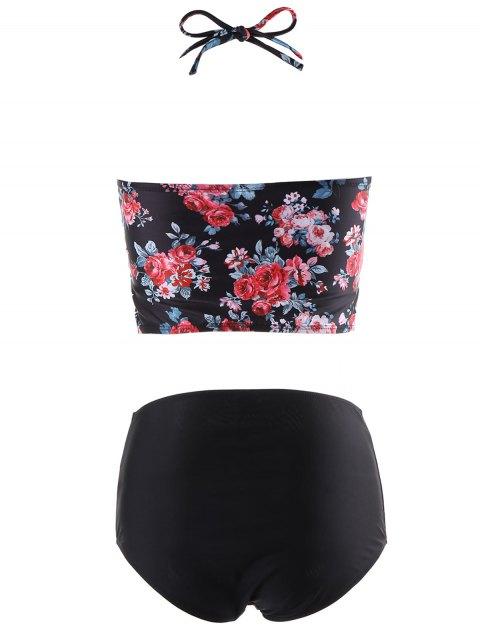 women High Waisted Tiny Floral Halter Bikini Set - BLACK M Mobile